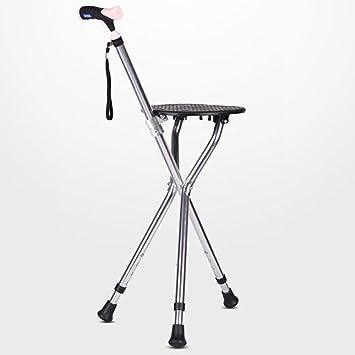 DSFGHE Vieil Homme Canne Chaise Pliante Legere En Aluminium Marcheur Agees Anti Derapant Avec Baton