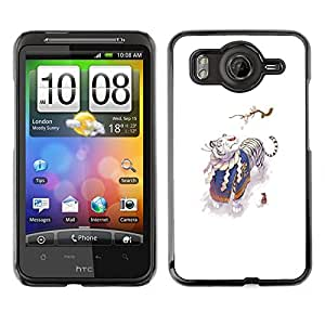 // PHONE CASE GIFT // Duro Estuche protector PC Cáscara Plástico Carcasa Funda Hard Protective Case for HTC G10 / Tigre Blanco y Ratón /