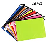 Zipper File Document Bags, 5 Color A4 Size Waterproof PVC Mesh Document Pouches Bills Bag Pencil Case, Office Supplies, Travel Storage Bags (10 Pack)