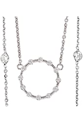 Beautiful 0.7ctw 14k White Gold Round Shape Diamond Pendant with Chain