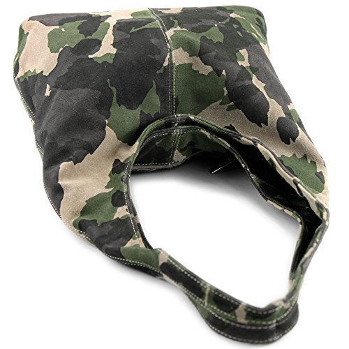Suède Sac De Italien Camouflage Bandoulière Grün Cuir Modamoda T150 En P0Fqdgw