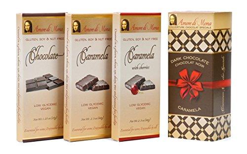 Classico Collection-Amore Di Mona Luxury Dark Chocolate and Caramela Box: Vegan, No Gluten, Peanuts, Tree Nuts, Milk, Sesame or Soy. Vegan, All-natural, Non-GMO, Low (Classico Collection)