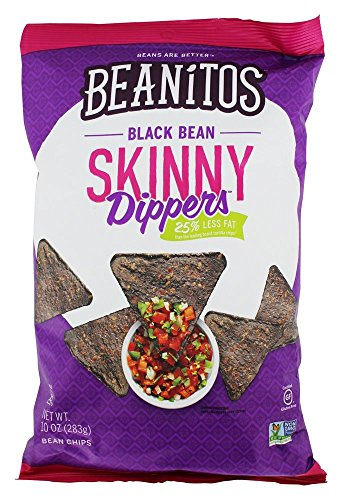 Beanitos Reduced Fat Black Bean Skinny Dippers, Plant Based Protein, Good Source Fiber, Gluten Free, Non-GMO, Vegan, Corn Free Tortilla Chip Snack, 10 (Beans Low Fat)