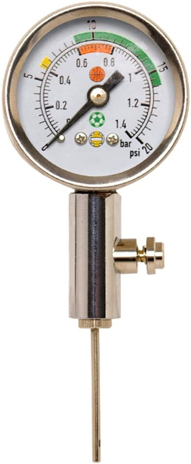 Firelong Accurate Ball Pressure Gauge Heavy Duty Metal Made,Test and Adjust The Pressure for Football Soccer Rugby Basketball Volleyball and Other Balls