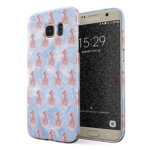Glitbit Samsung Galaxy S6 Edge Case Kawaii Aesthetic Cute Glitter Shimmer Pineapple Pattern Rose Gold Tropical Fruit Thin Design Durable Hard Shell Plastic Protective Case Cover ()