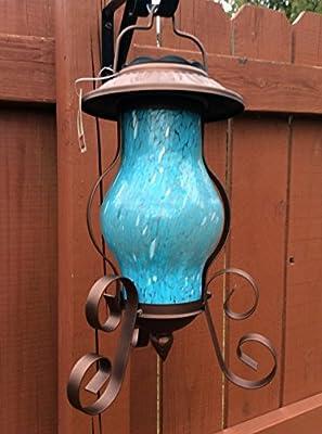 Art Glass Solar Garden Lantern Blue