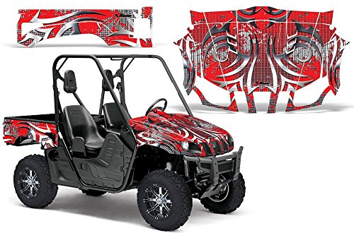 2004-2013 Yamaha Rhino 450/660/700 AMRRACING SXS Graphics Decal Kit:Deaden-Red