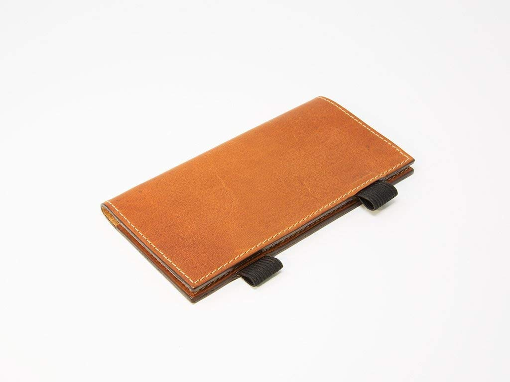 Checkbook case, Checkbook Holder made of Natural Horween Dublin Leather with Light Brown stitching