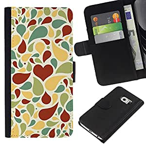 KingStore / Leather Etui en cuir / Samsung Galaxy S6 EDGE / Patrón de amor creativo
