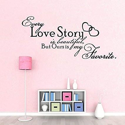 Amazoncom Wall Art Every Love Story Is Beautiful Quote Vinyl Vinyl