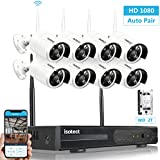 [Full HD]Best Wireless Security Camera System, Isotect 8CH 1080P CCTV HD Surveillance System WiFi NVR Kits, 8pcs 1080P Security Cameras Wireless Outdoor, Motion Detection Remote View, 2TB Hard Drive