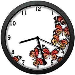 luckboy-zm Monarch Butterfly Figures Flying Frame Insect Exotic Weather, Dark Brown Marigold Orange Wall Clock Nice for Gift or Office Home Unique Decorative Clock Wall Decor 12in with Frame