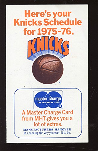 New York Knicks Schedule - 1975/76 NBA Basketball New York Knicks Schedule EXMT
