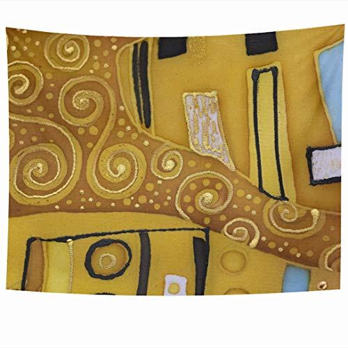 Ahawoso Tapestry 90x60 Inch Love Brown Pattern Batik Abstract Klimt Purple Mosaic Nouveau Modern Vintage Artistic Attitudes Design Wall Hanging Home Decor for Living Room Bedroom Dorm