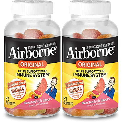 Airborne 750mg Vitamin C Gummies For Adults, Immune Support Gummies With Powerful Antioxidants Vit C & E – (2×63 count…