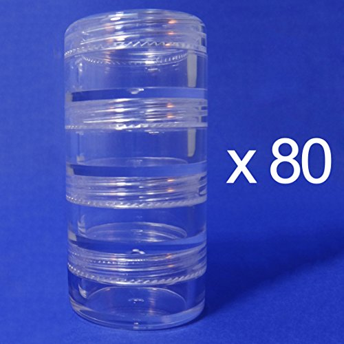 Clear Makeup Stackable Plastic Jar 5gr (AY81(5)(4 stacked)-C=80 sets) by TOPFASHION89