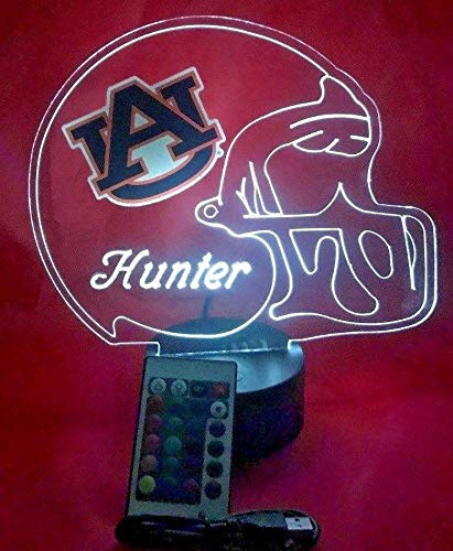 Auburn Tigers College Football Helmet Light Lamp Light Up Table Lamp LED with Remote, Our Newest Feature - It's Wow, with Remote 16 Color Options, Dimmer, Free Engraving, Great Gift