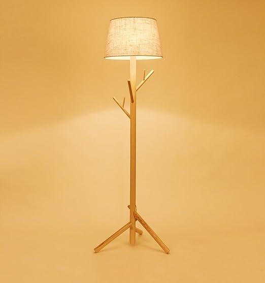 YYLLUODID ZHDC® Lámpara de pie de Madera Maciza, nórdico Simple Moderno salón Sofá lámparas de