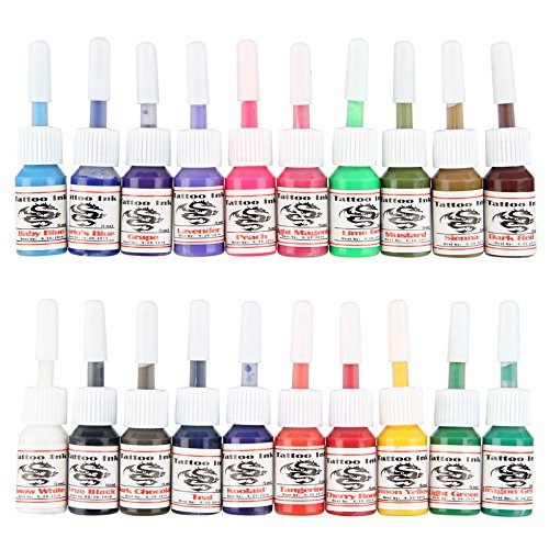 Beauty7 Professional 20 PCS Tattoo Color Inks Set Bottle Pigment Kit for Permanent Tattoo Art