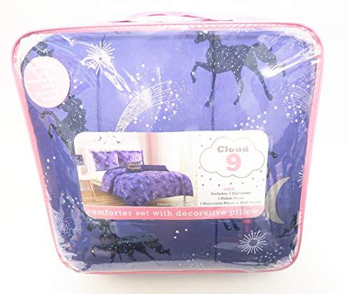 Cloud Deep Purple Celestial Unicorns, Moons, and Shooting Stars Comforter Set (Twin)