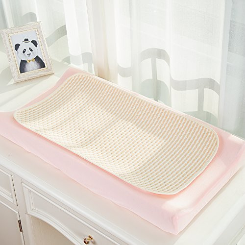 """Baby Waterproof Diaper Changing Liner and Cover Baby Bed Pad Organic Cotton Mattress Protector Reusable Bamboo Blanket Baby Ultra Absorb Sheets for Infants Kids, Size 28""""x 16"""" (3 Pack)"""