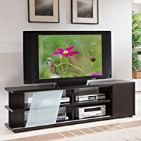 Modern Dark Brown Sliding Glass 72-inch TV Stand with Side Storage Cabinet & Four Open Shelves, Entertainment Unit, Entertainment Center, Living Room Furniture, Sliding Glass Door, BONUS E-book