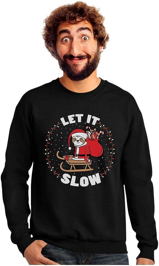 Tstars Holiday Let It Slow Funny Sloth Santa Claus Ugly Christmas Sweatshirt