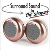 Splash Tunes Pro Dual Shower Speaker – Ultimate Shower Speaker that is Portable, Hands-Free, Wireless, Water Resistant, with Built-in Mic and Suction Cup (Rose Gold)