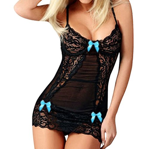ILUCI Sexy Lingerie for Women for Sex Women's Lace Bow Babydoll One Piece Jumpsuit Dress Spice Suit Temptation Robe Clearance (1 PC, Blue) for $<!--$0.99-->