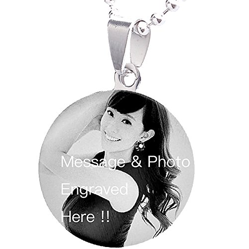 LUCKYOON Personalized Custom Any Name Text Message & Photo Engraving Necklace Lover Family Friend gift (Double side / Message & Photo)