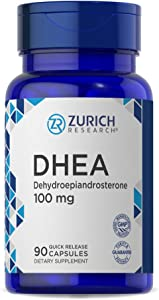 DHEA 100mg | 90 Quick Release Capsules | Non-GMO & Gluten Free Supplement | by Zurich Research