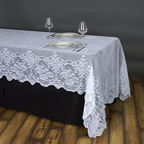 BalsaCircle 60-Inch x 126-Inch White Rectangular Floral Lace Tablecloth Table Linens Wedding Party Decorations Kitchen (Circle Lace)