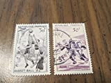 1956 French stamps on basketball and rugby
