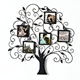 Adeco PF0588 Brown Black Decorative Tree Style Collage Iron Metal Wall Family Tree Scroll Hanging Picture Photo Frame, 5 Opening , 4x4'' Each, Black with Antique Finish