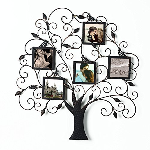 Adeco PF0588 Brown Black Decorative Tree Style Collage Iron Metal Wall Family Tree Scroll Hanging Picture Photo Frame, 5 Opening , 4x4