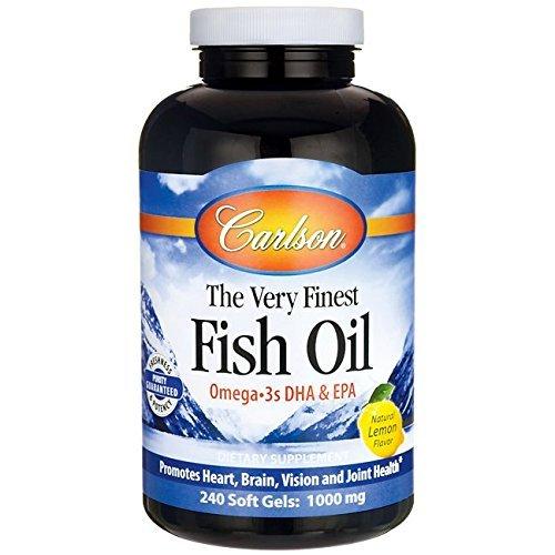 Carlson Labs Very Finest Fish Oil, Lemon, 1000mg, 240 Softgels