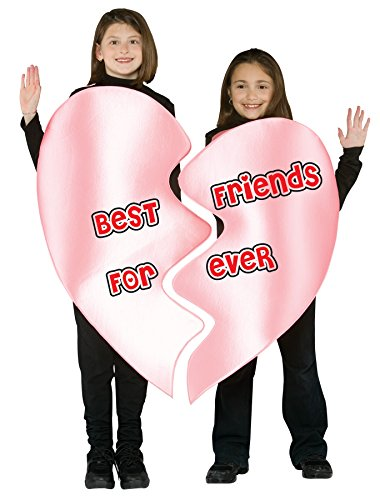 UHC Girl's Best Friends Forever Heart Fancy Dress Child Halloween Costume, Child M (7-10) (Best Friend Halloween Costumes For Girls)