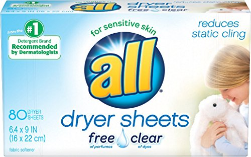 Price comparison product image all Fabric Softener Dryer Sheets for Sensitive Skin, Free Clear, 80 Count