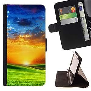 Momo Phone Case / Flip Funda de Cuero Case Cover - Pradera y puesta de sol - HTC One Mini 2 M8 MINI
