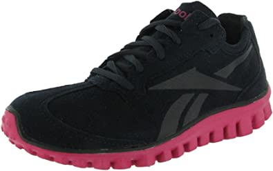 Pigro Nel nome rosa  Amazon.com   Reebok Womens RealFlex Run - Suede, Black-Pink-Silver, 10 B(M)  US   Road Running