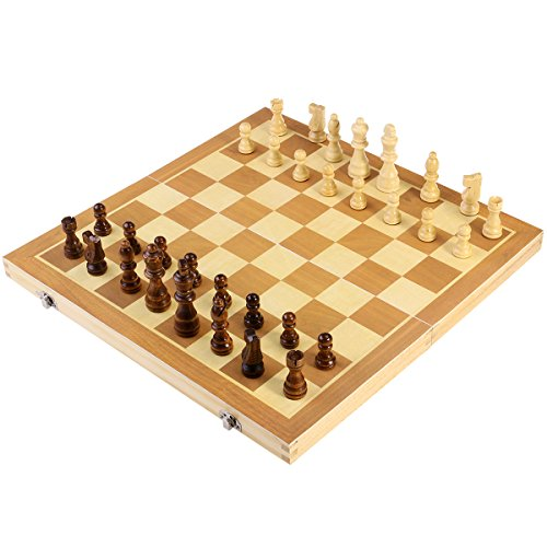 BESTOYARD Folding Wooden Chess Set with Magnetic Pieces, 15 x 15 Inch Board Magnetic Board Set