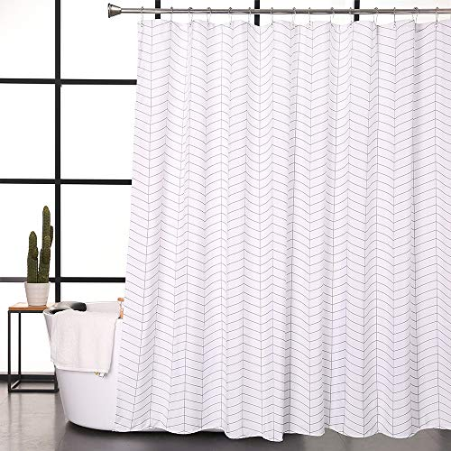 Aimjerry Water-Repellent Striped Fabric Shower Curtain Mold Resistant Black and White,71-inch x 71-inch