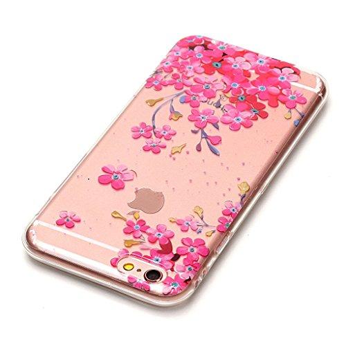 """Crisant Pinke Blumen Drucken Design weich Silikon Ultra dünn TPU Transparent schutzhülle Hülle für Apple iPhone 6 Plus / 6S Plus 5.5"""" (5,5''),Premium Handy Tasche Schutz Case Cover Crystal Bumper Scha"""