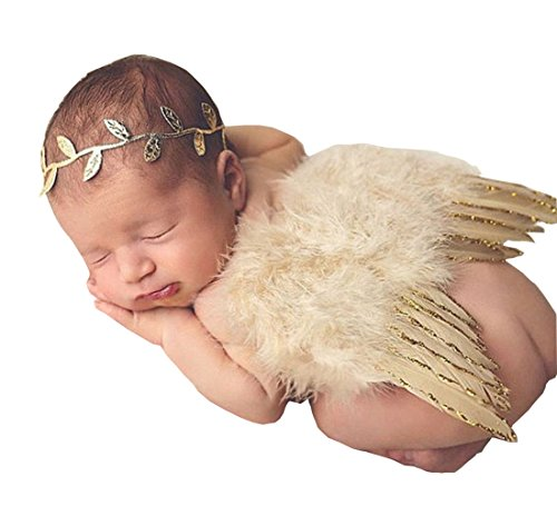 [1 Set Newborn Baby Gold Silver Leaf Headband Wing Costume Photo Photography Prop (Gold)] (Angel Wings For Halloween Costumes)