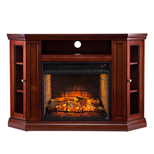 Southern Enterprises AZ6139IF Corner Media Infrared Fireplace, Brown Mahogany Finish