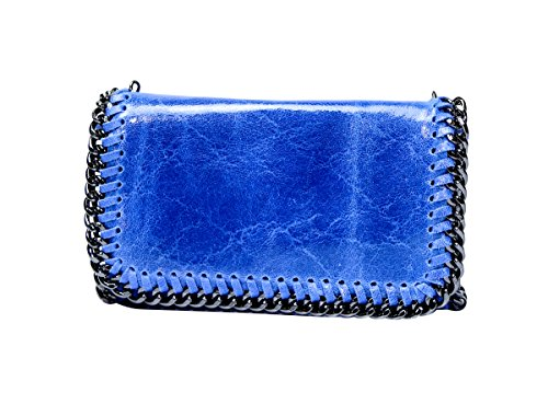 Smooth Vintage Celebrity Trim Handbag Italian Jeans Style Silver Chain Shoulder Cross Strap Designer Party Clutch Bag Metal Soft Leather Body Evening Purse Real Blue 5IqwFSF