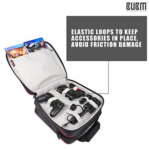 PS4 Slim Controller Carrying Case - BUBM Travel Shoulder Bag Portable Shell Case Protective Storage Bag for Playstation 4,PS4 Slim,PS3 Consoles,Games,Headset,Including Shoulder Strap,2-Year Warranty