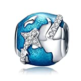 Travel Round the World Clear CZ 925 Sterling Silver Bead Charms for Bracelet Mother's Day Gifts Jewelry