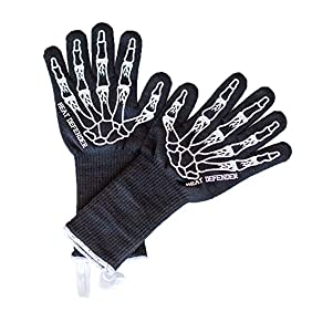Heat Defender - Set of 2 Extreme Heat Resistant Gloves(up to 932 °F), 15 inch EXTRA Length Protective gloves, Cotton Lining For Super Comfort, Silicone Print for Ultimate Grip, Loops for Hanging