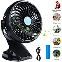 Clip Fan Battery Operated Clip on Mini Desk Fan Portable Baby Stroller Fan 360 Degree Rotation USB Rechargeable or Battery Powered Small Personal Fan for Stroller Car Office Dorm Outside